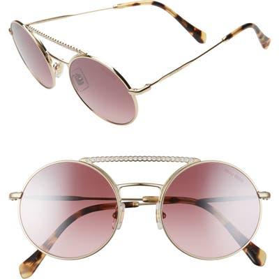 Miu Miu 50Mm Round Crystal Embellished Aviator Sunglasses -