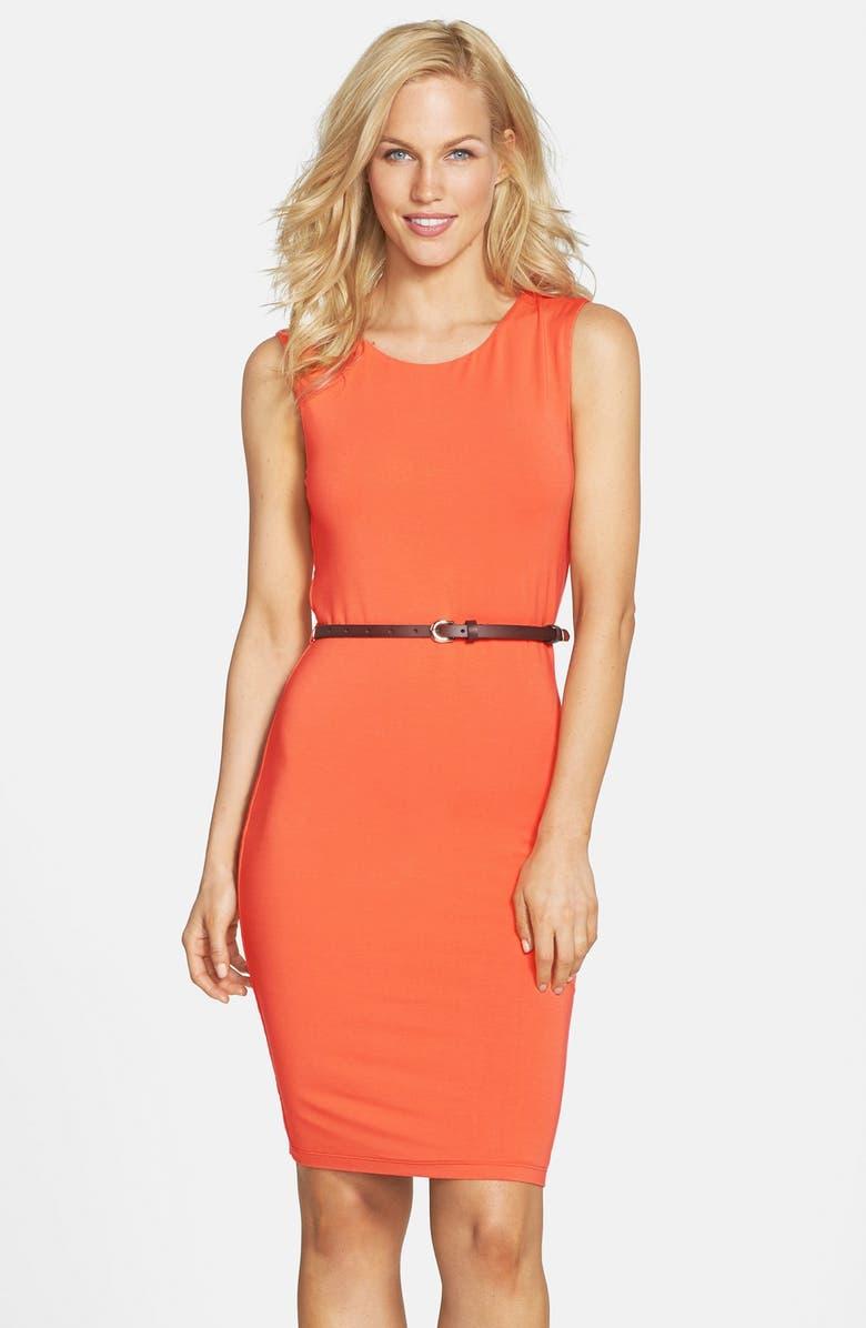 TART 'Helena' Belted Jersey Body-Con Dress, Main, color, NASTURTIUM