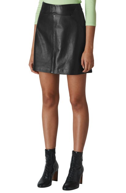 Whistles LEATHER A-LINE MINISKIRT