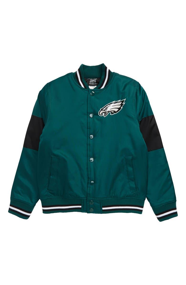 OUTERSTUFF NFL Logo Philadelphia Eagles Throwback Varsity Jacket, Main, color, SPORT TEAL