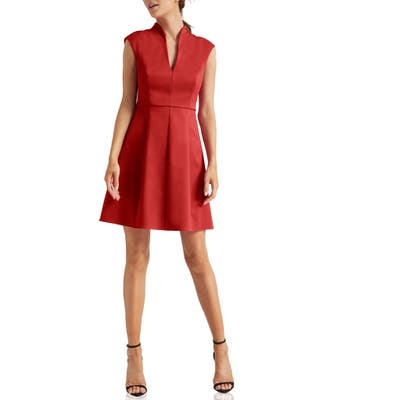 Halston Heritage Cap Sleeve Cocktail Dress, Red