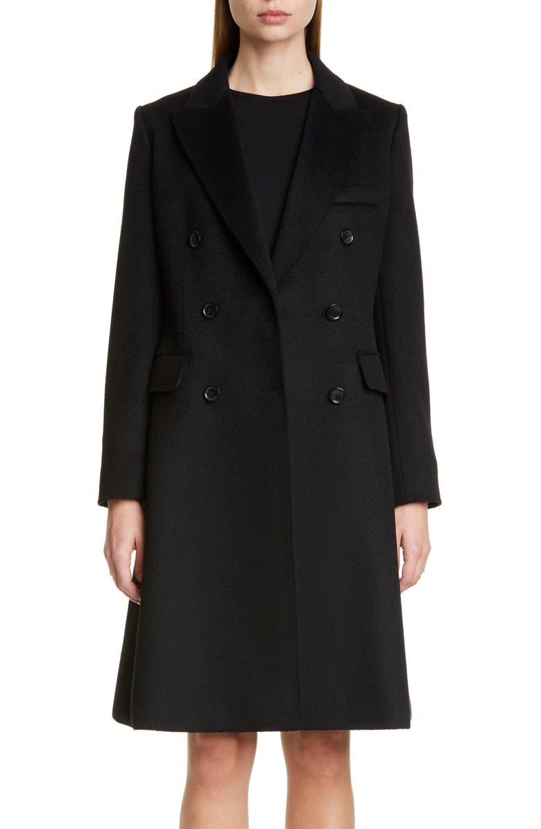 MAX MARA Rigel Double Breasted Camel Hair Coat, Main, color, BLACK