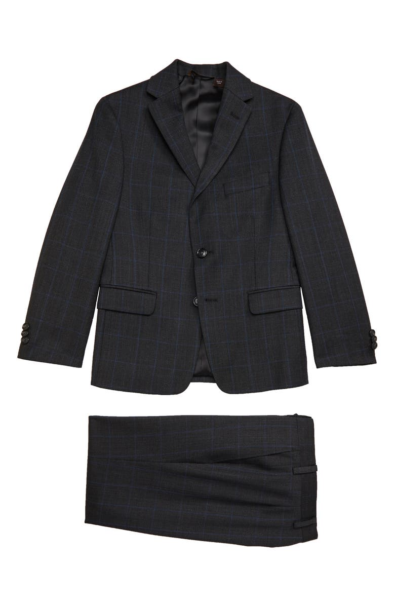 MICHAEL KORS Bird's Eye Windowpane Wool Blend Suit, Main, color, CHARCOAL