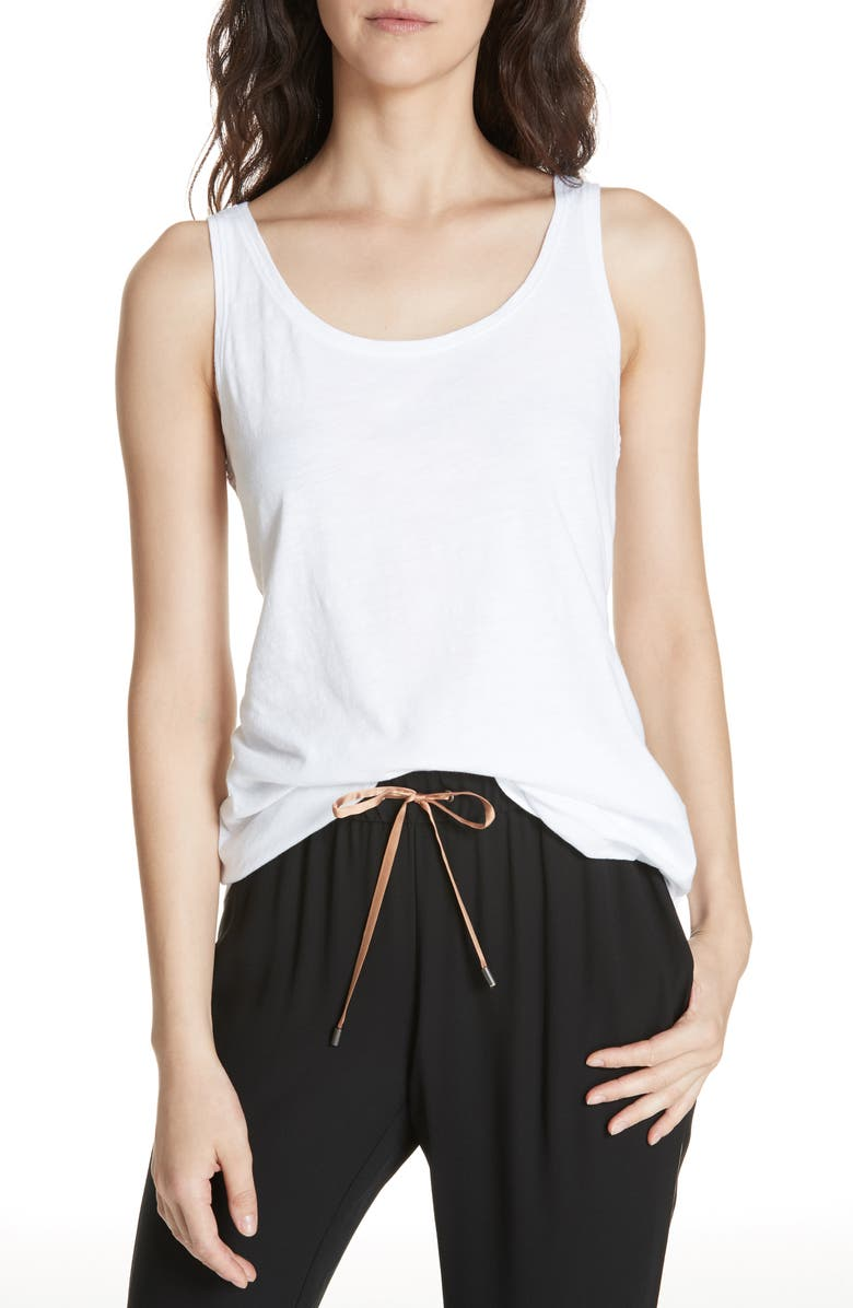 EILEEN FISHER Organic Cotton Jersey Tank, Main, color, WHITE