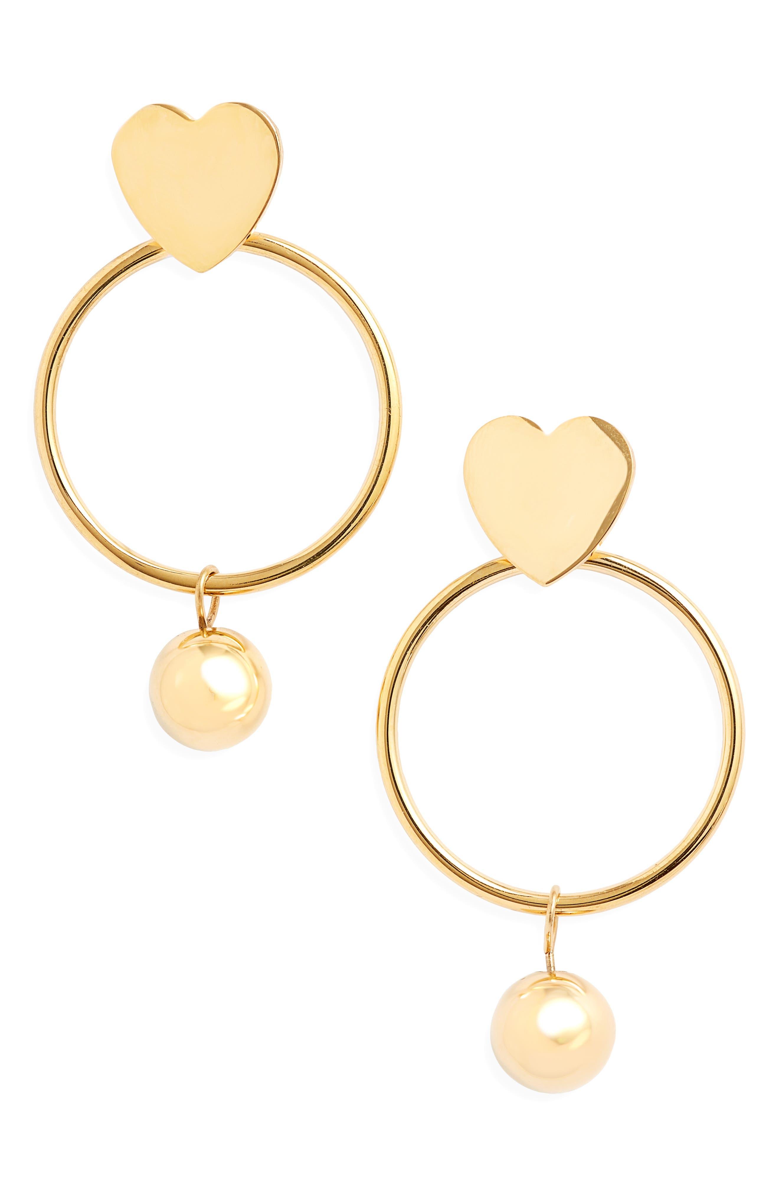 Heart Hoop Imitation Pearl Drop Earrings