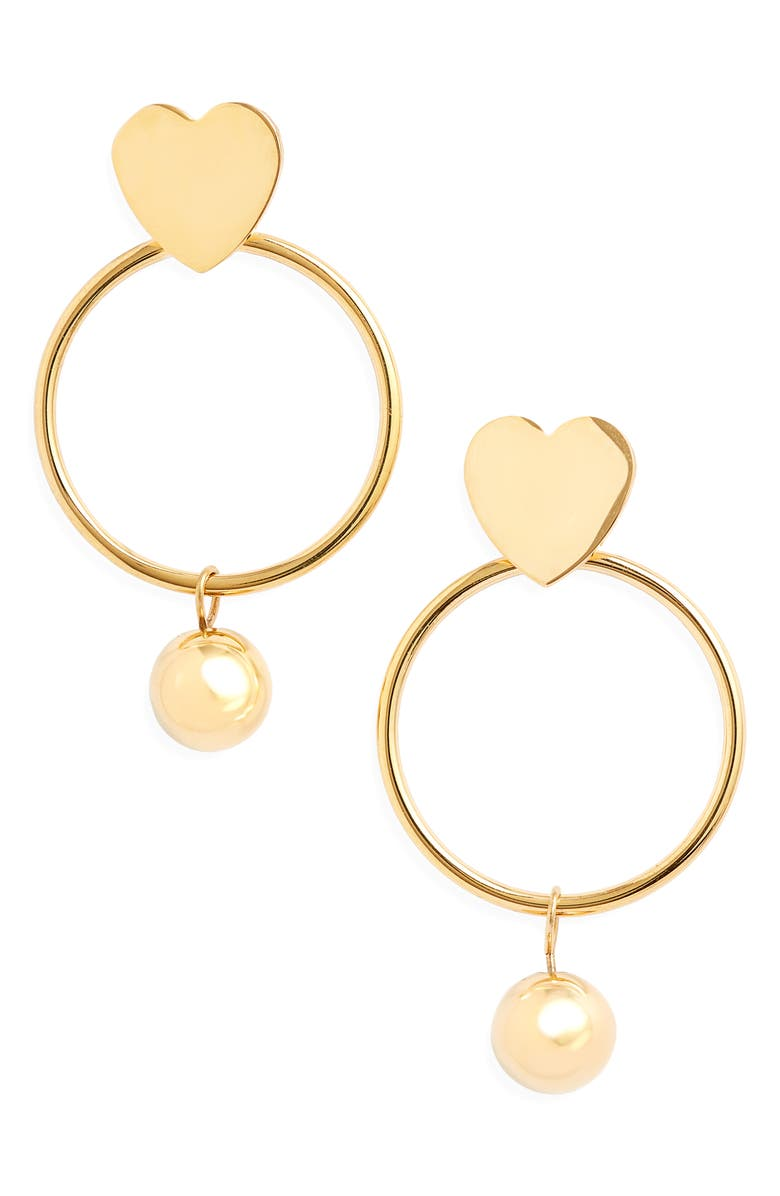 KNOTTY Heart Hoop Imitation Pearl Drop Earrings, Main, color, GOLD