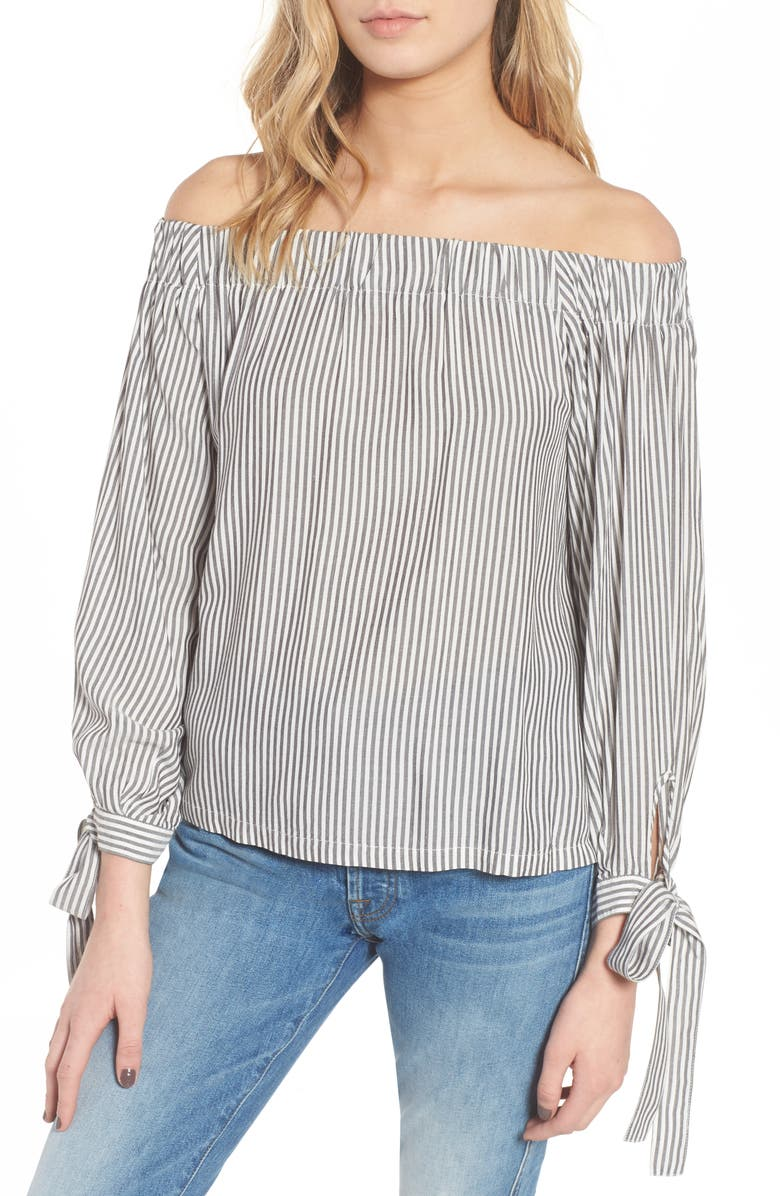 7 FOR ALL MANKIND <sup>®</sup> Off the Shoulder Top, Main, color, GREY/ WHITE