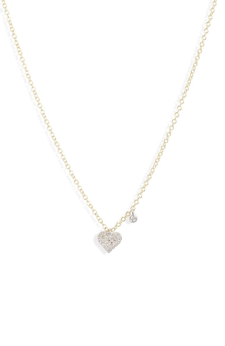 MEIRA T Diamond Pavé Heart Charm Necklace, Main, color, YELLOW GOLD