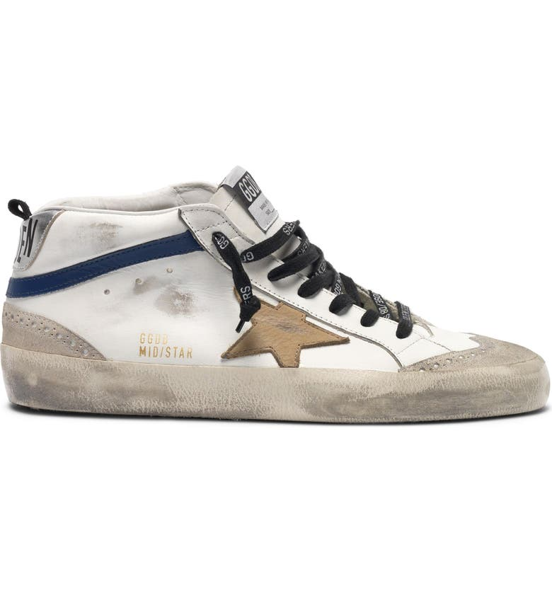 GOLDEN GOOSE Mid Star Sneaker, Main, color, WHITE BLUE LEATHER-INCENSE