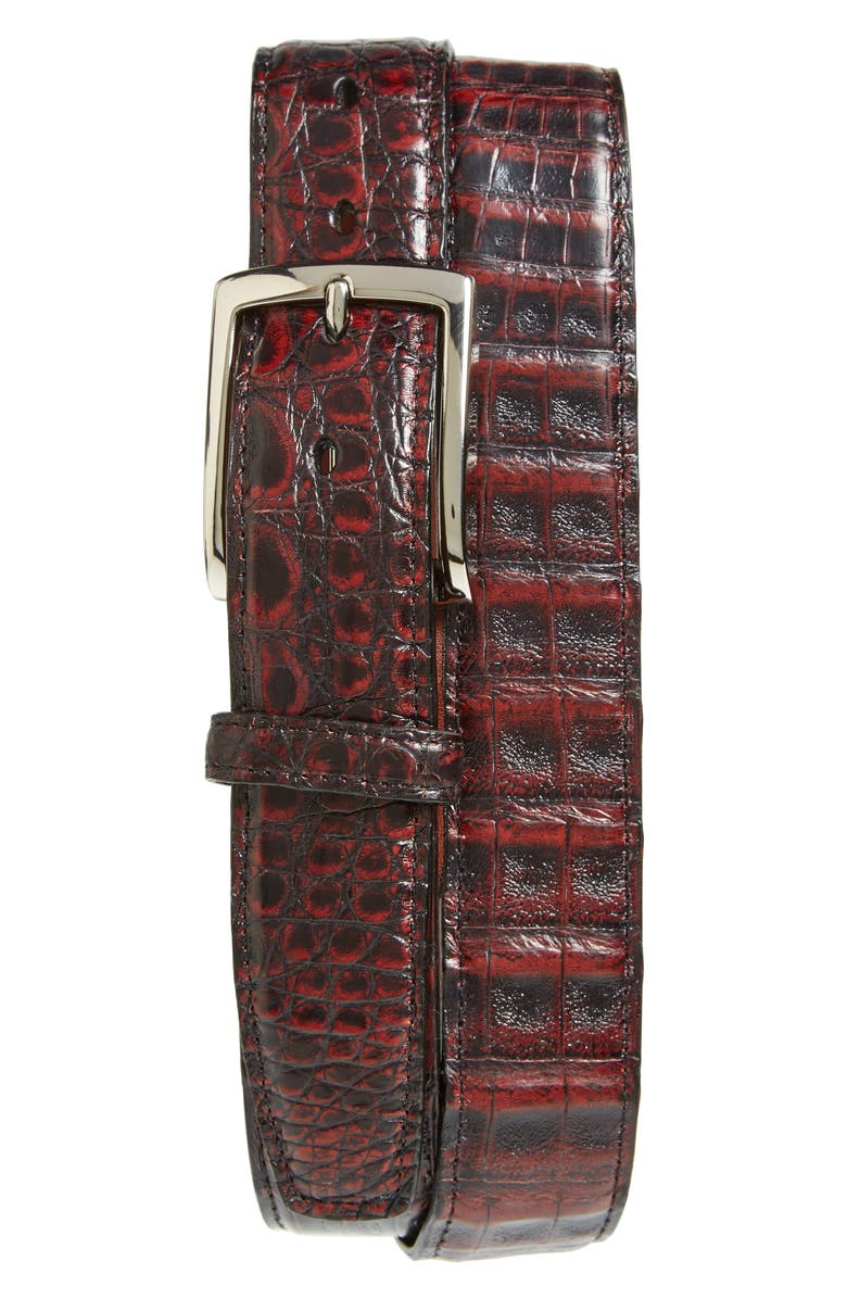 TORINO Caiman Leather Belt, Main, color, BLACK CHERRY