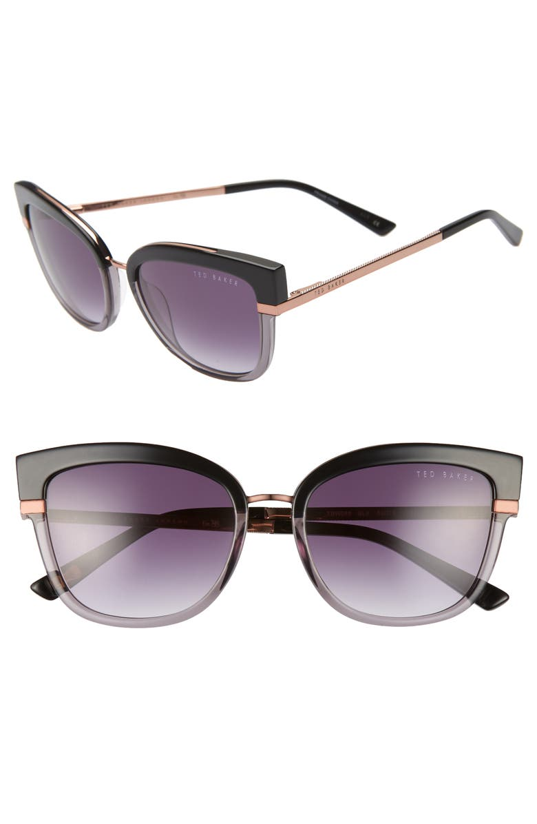 TED BAKER LONDON 53mm Square Sunglasses, Main, color, BLACK/ GOLD/ PURPLE