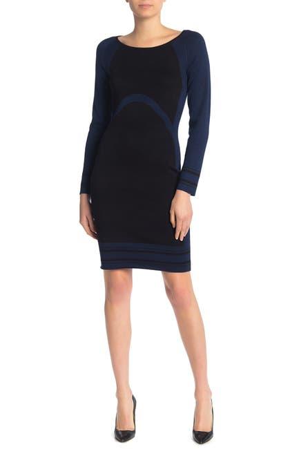 Image of Max Studio Colorblock Bodycon Sweater Dress
