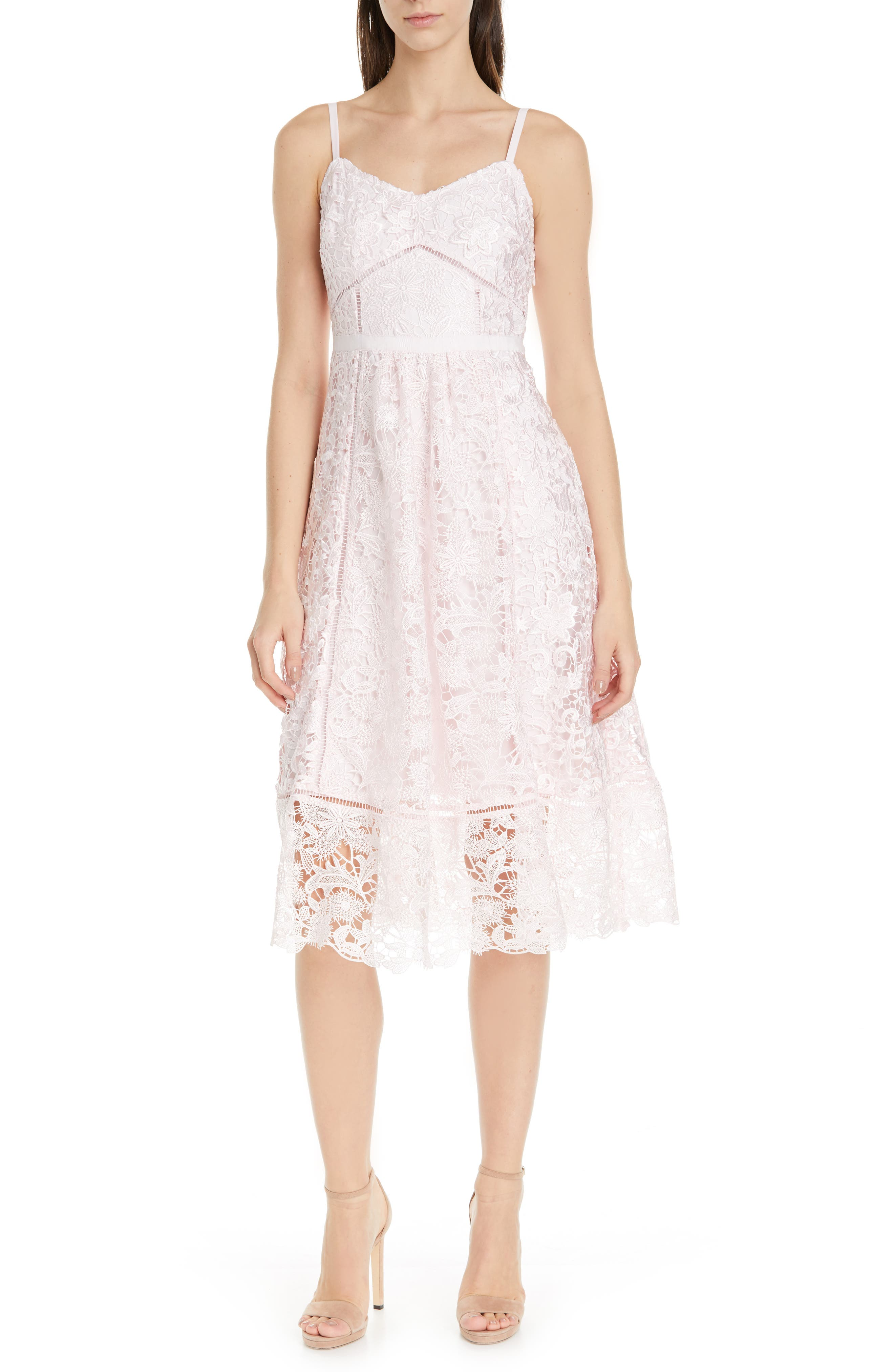 Ted Baker London Valens Lace Midi Dress, Pink