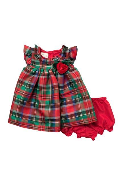 Image of Laura Ashley Plaid Print Dress & Bloomers Set