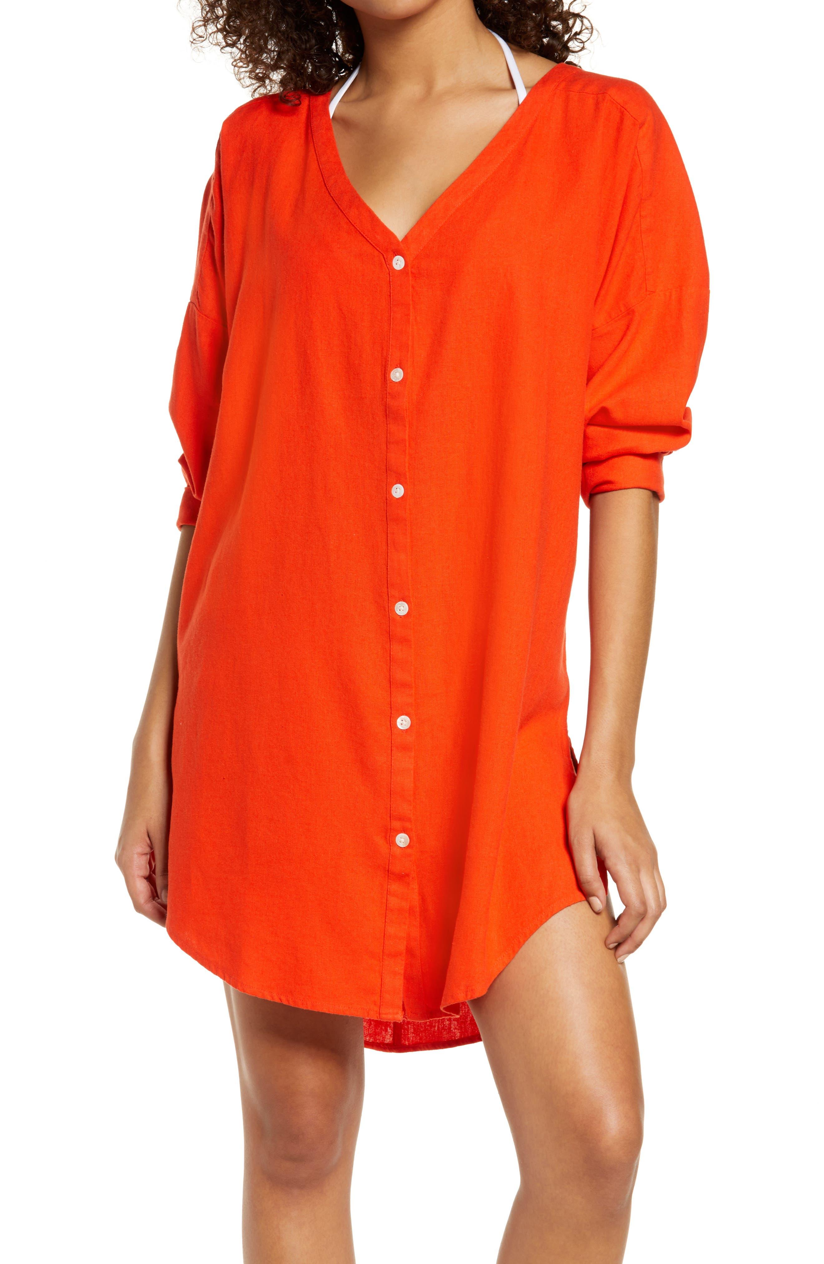 Oversize Linen Blend Cover-Up Shirt