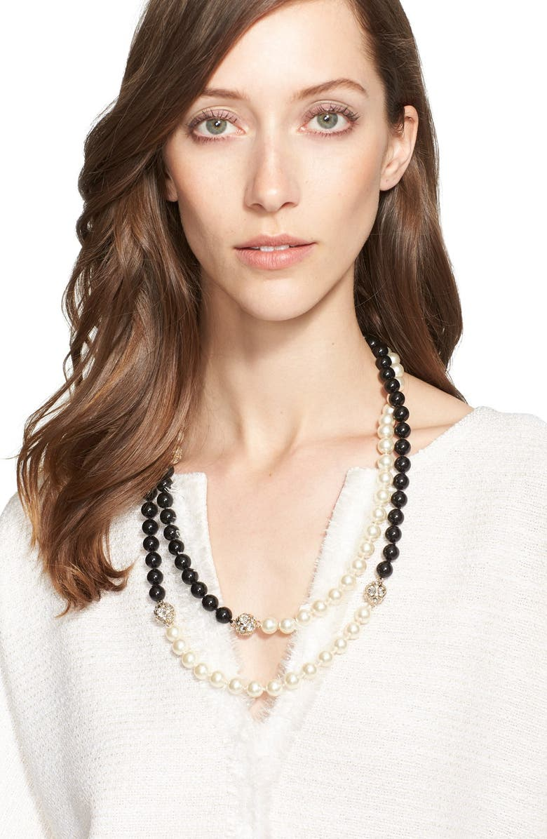 ST. JOHN COLLECTION Two-Tone Faux Pearl Double Strand Necklace, Main, color, 710