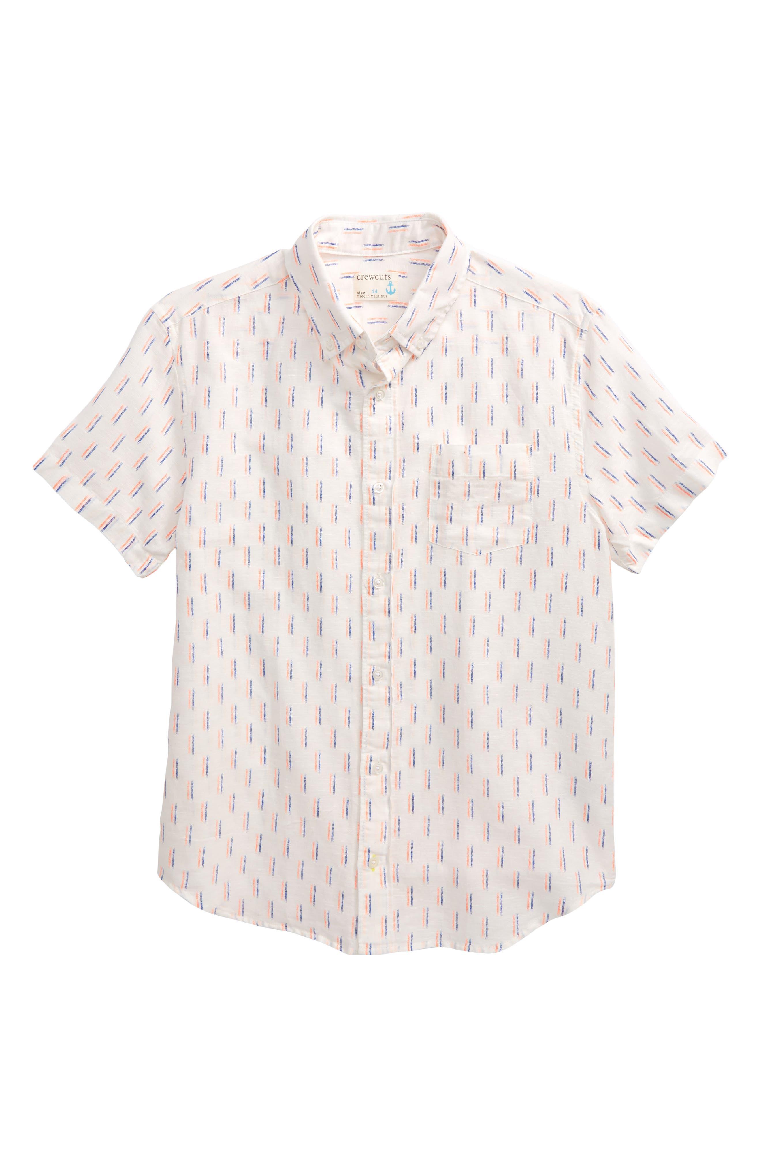 ,                             Dash Print Linen & Cotton Shirt,                             Main thumbnail 1, color,                             IVORY