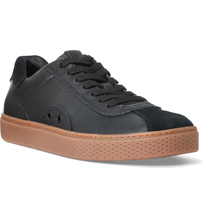 POLO RALPH LAUREN Court 100 LUX Sneaker, Main, color, BLACK LEATHER