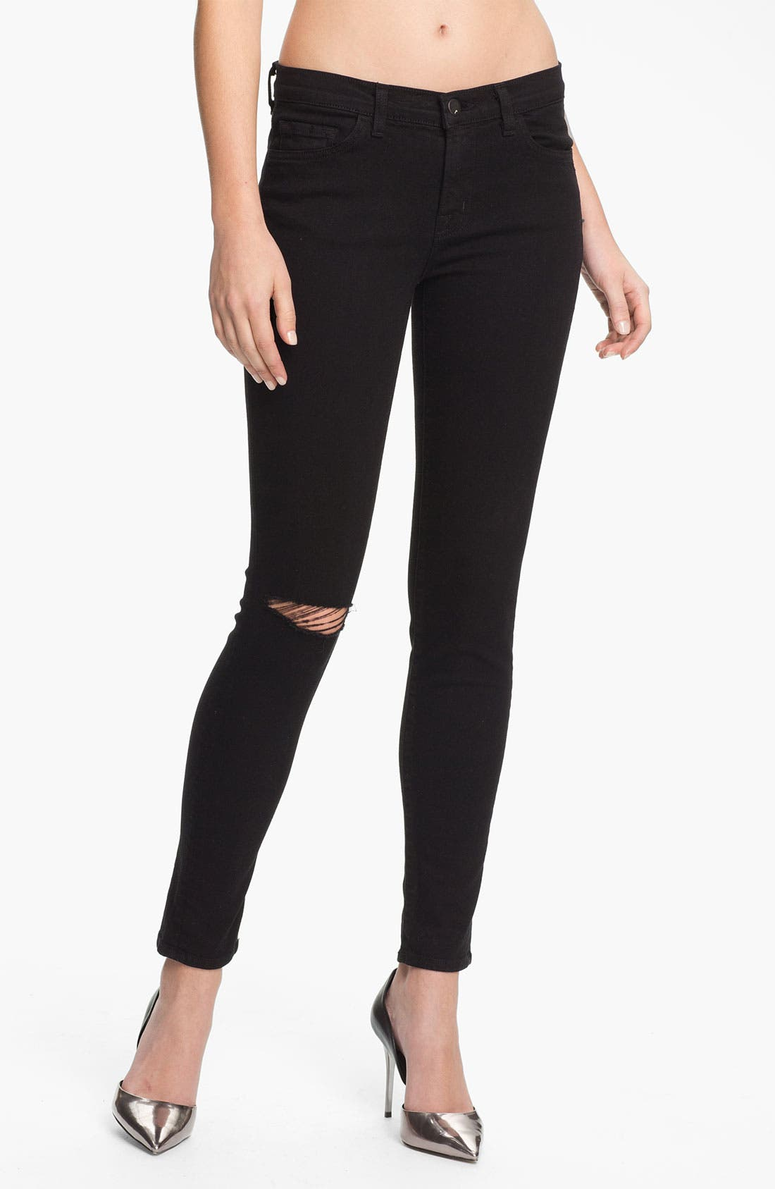 Skinny Stretch Ankle Jeans, Main, color, 001