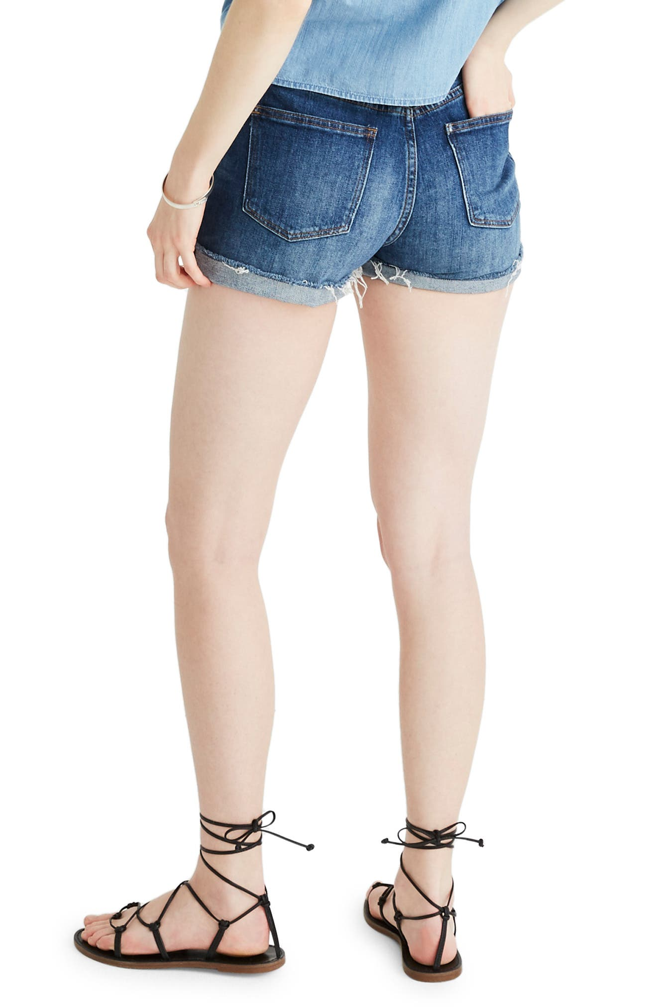 ,                             High Rise Cuffed Denim Shorts,                             Alternate thumbnail 2, color,                             GLEN OAKS
