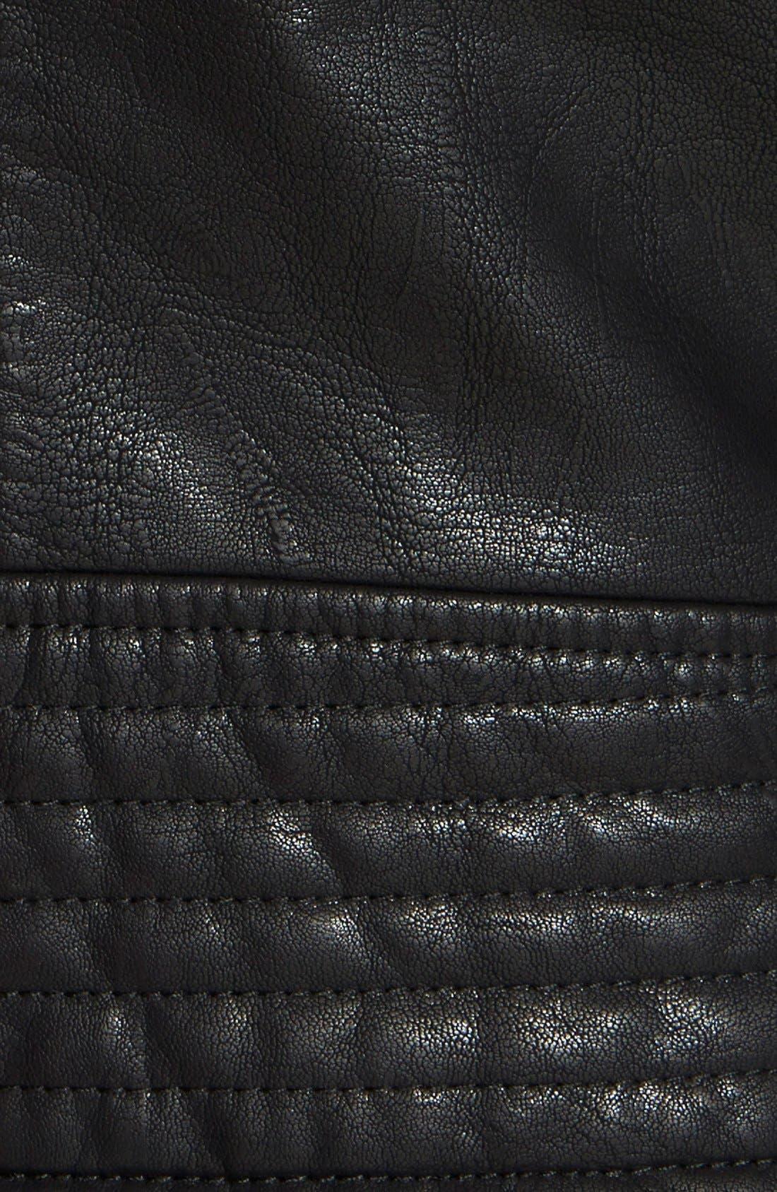 ,                             Faux Leather Moto Jacket,                             Alternate thumbnail 4, color,                             001