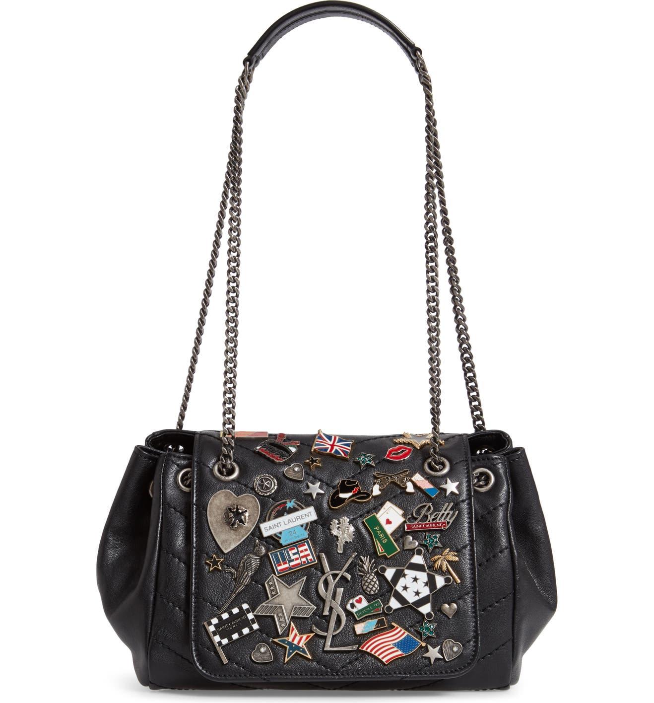 3b4d8618b2b1 Saint Laurent Small Nolita Pin Embellished Leather Shoulder Bag | Nordstrom