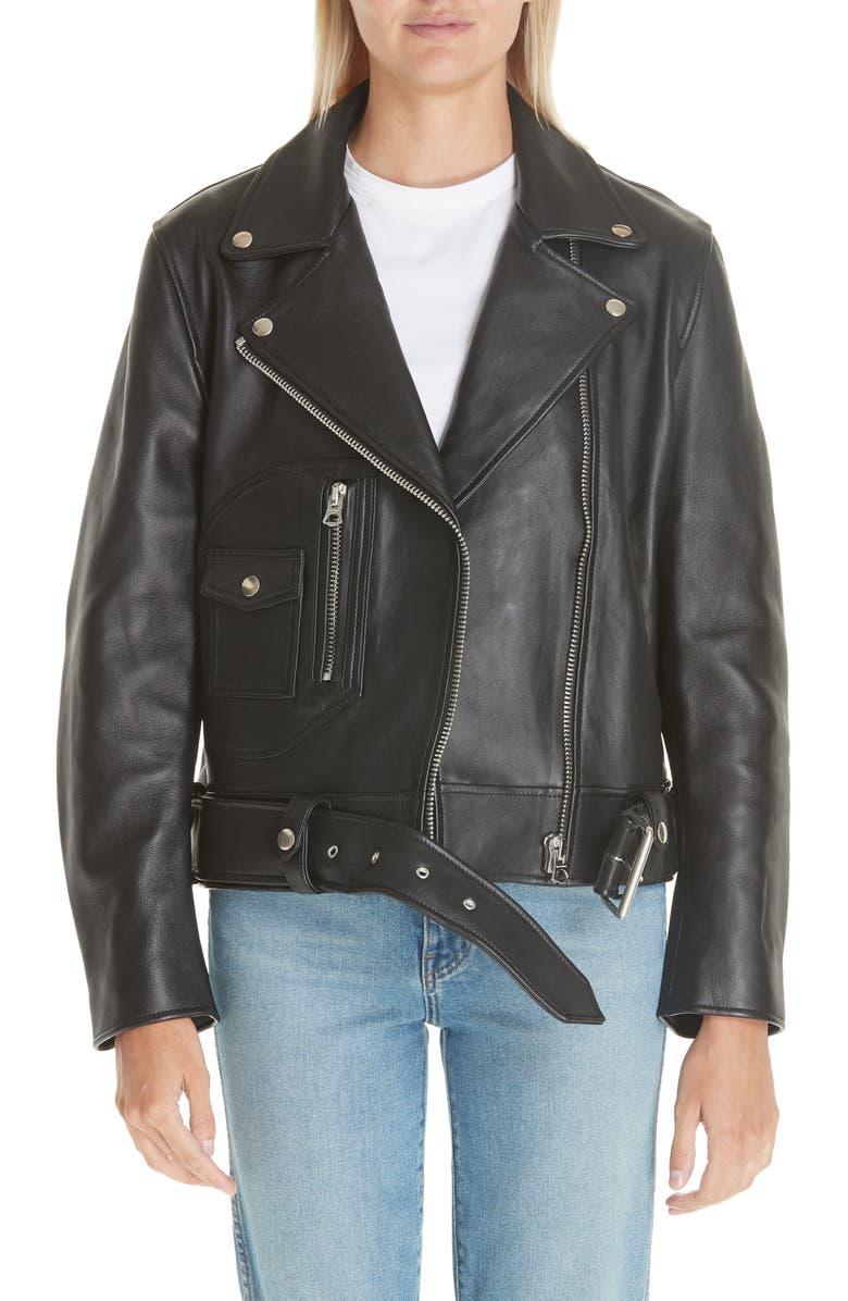 ACNE STUDIOS Leather Moto Jacket, Main, color, BLACK