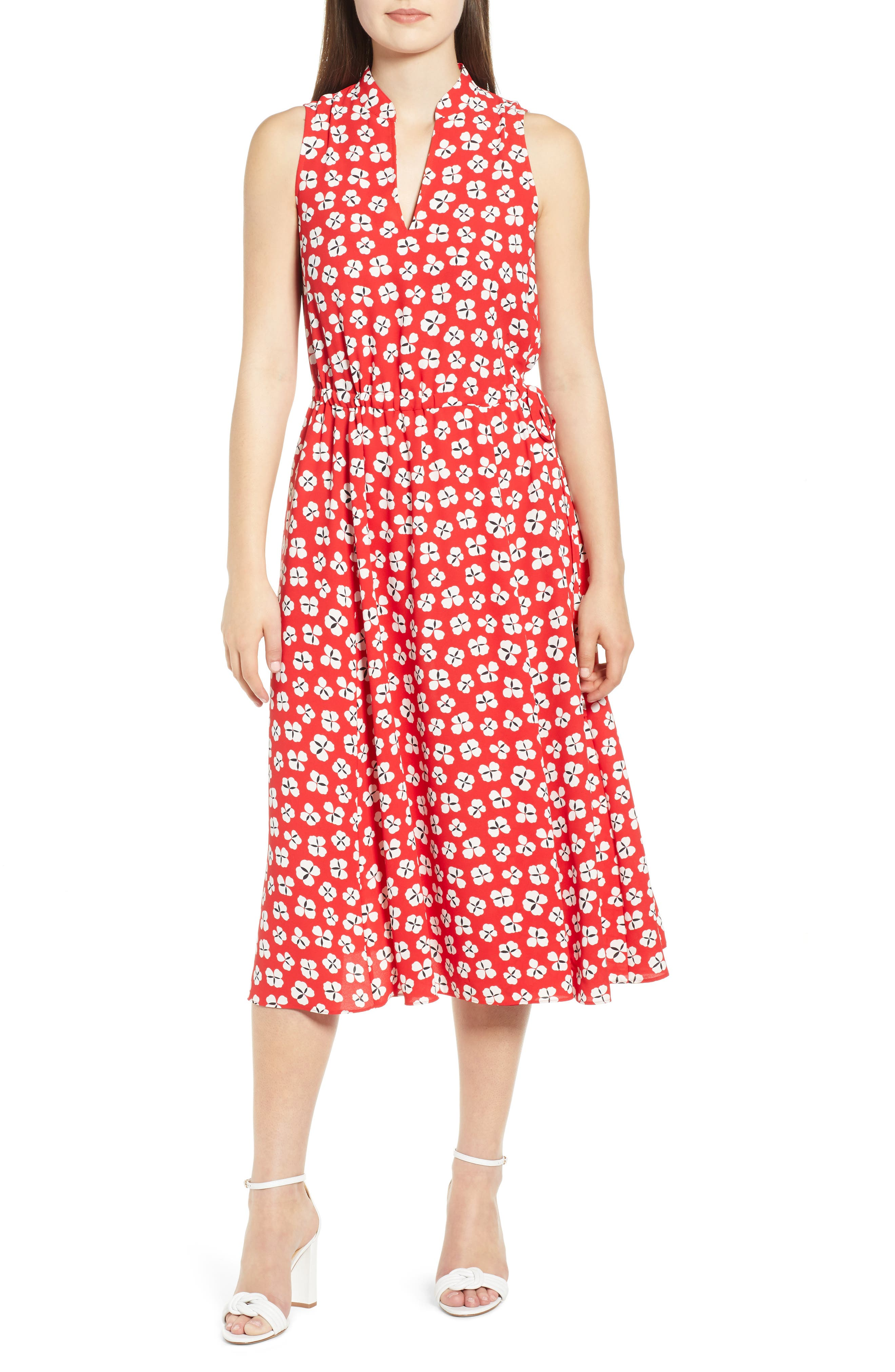 Anne Klein Zuma Petal Split Neck Midi Dress, Red