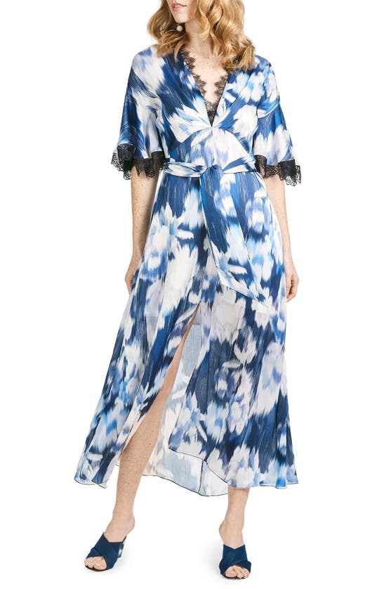 Sachin & Babi Jenny Abstract Floral Lace Trim Dress In Blue Ikat Floral
