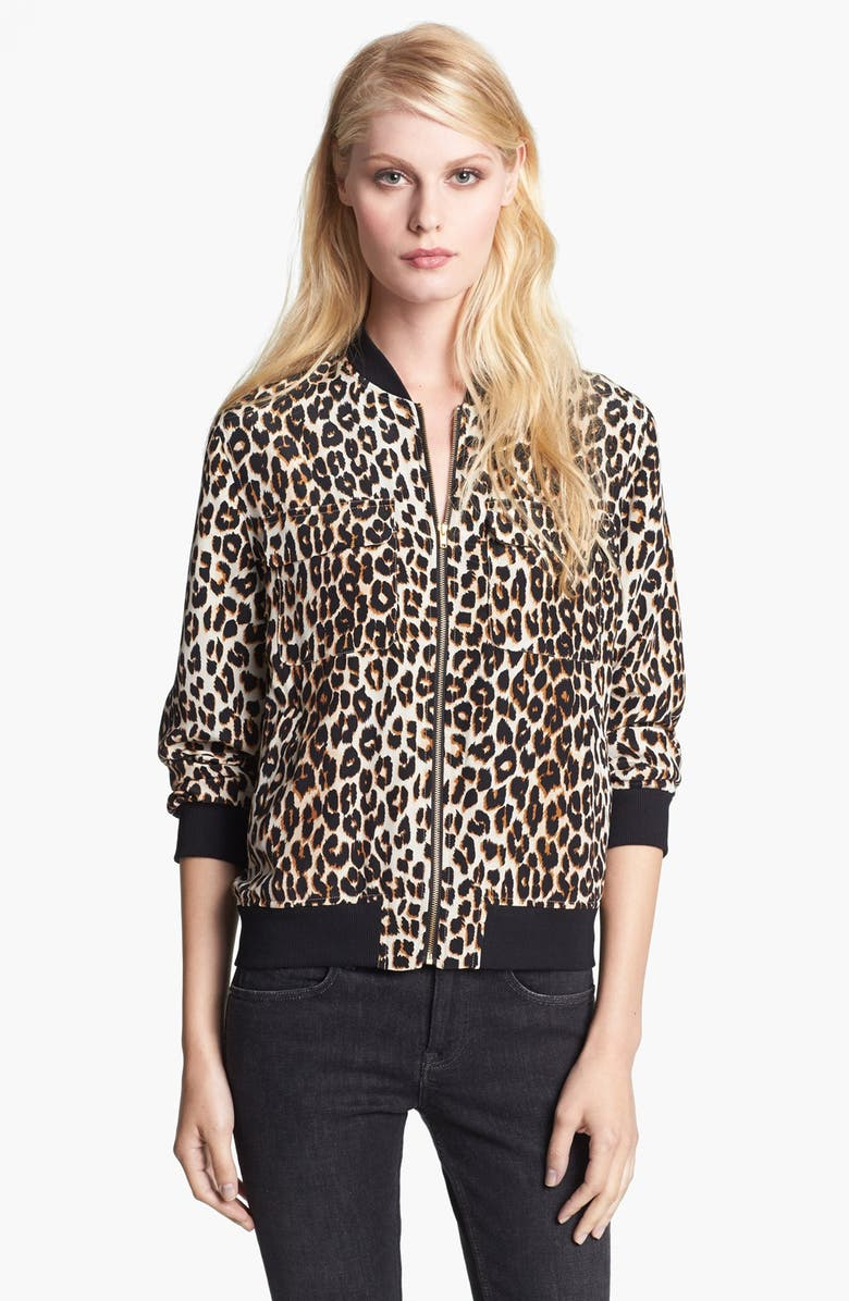 EQUIPMENT 'Abbot' Leopard Print Silk Bomber Jacket, Main, color, 250