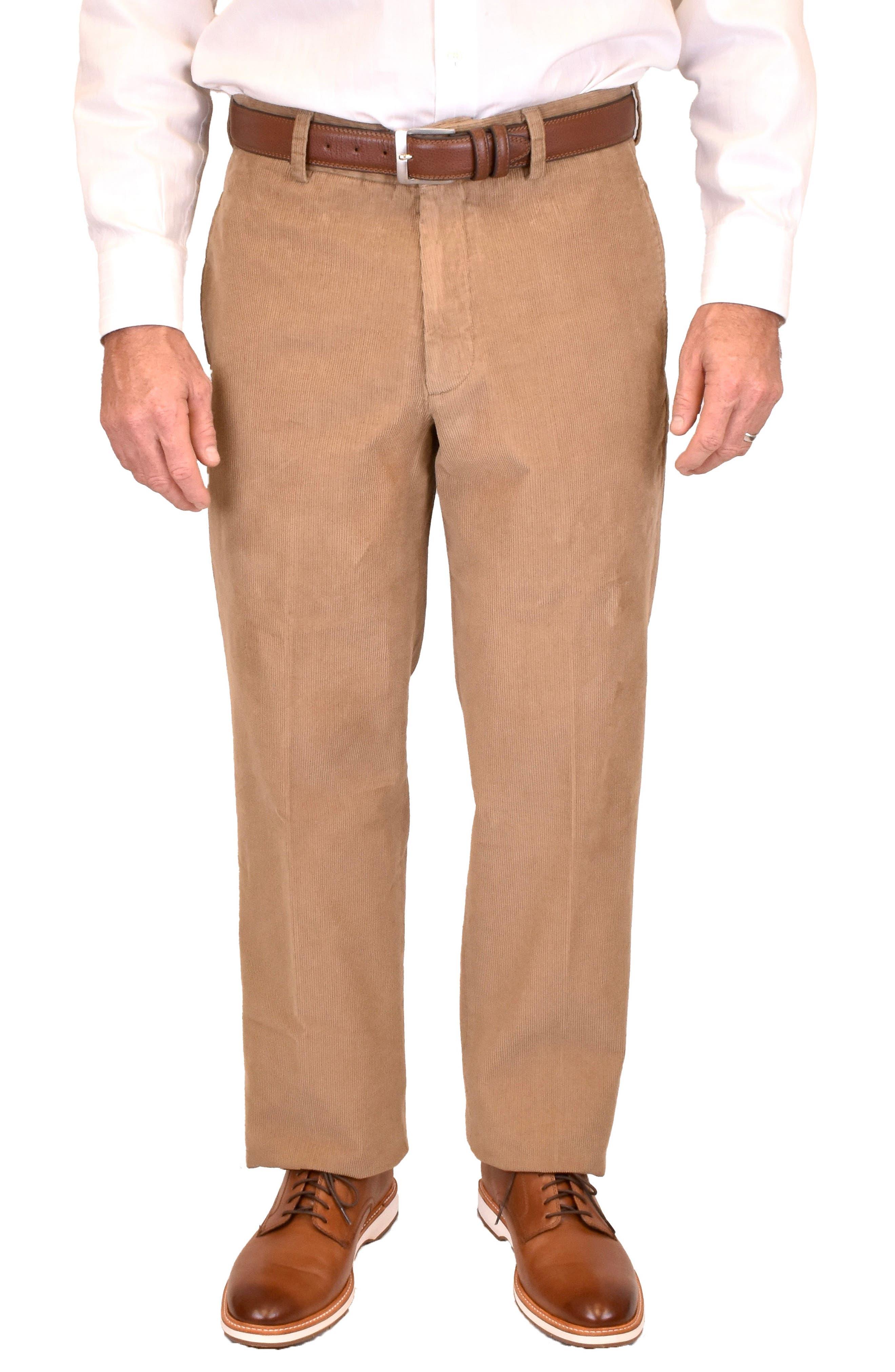 1950s Men's Pants, Trousers, Shorts | Rockabilly Jeans, Greaser Styles Mens Berle Charleston Flat Front Cotton Corduroy Dress Pants Size 42 - Beige $130.00 AT vintagedancer.com