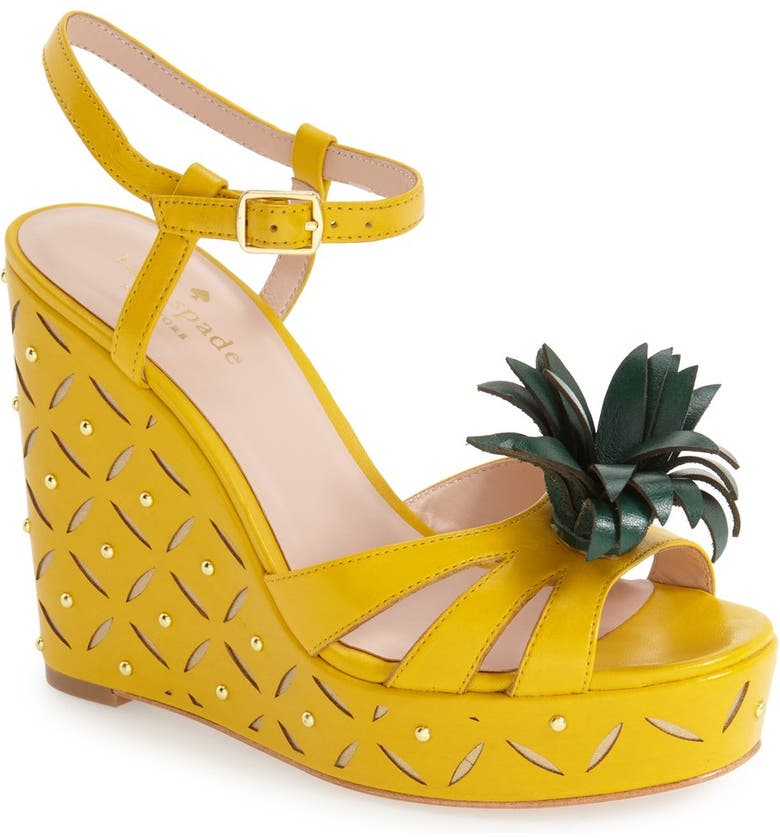 KATE SPADE NEW YORK 'dominica' pineapple wedge sandal, Main, color, 705