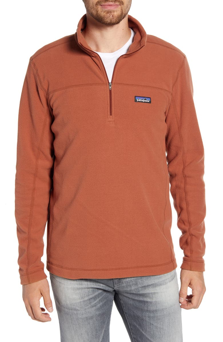 PATAGONIA Micro D<sup>®</sup> Quarter-Zip Fleece Pullover, Main, color, SISU BROWN
