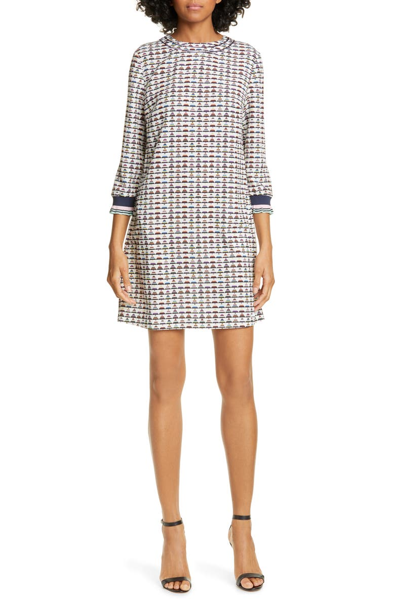 TED BAKER LONDON Colour by Numbers Karleen Triangle Print Shift Dress, Main, color, 900