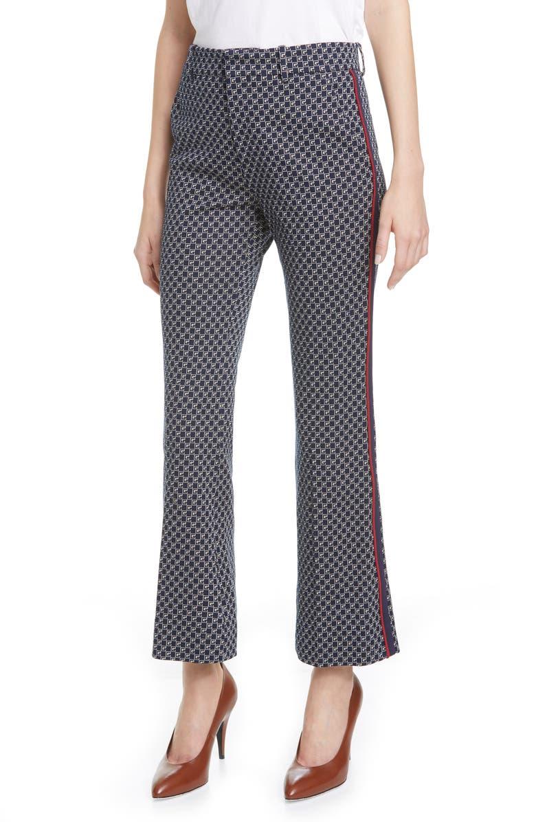GUCCI Square G-Logo Jacquard Jersey Bootcut Pants, Main, color, BLUE/ MIX
