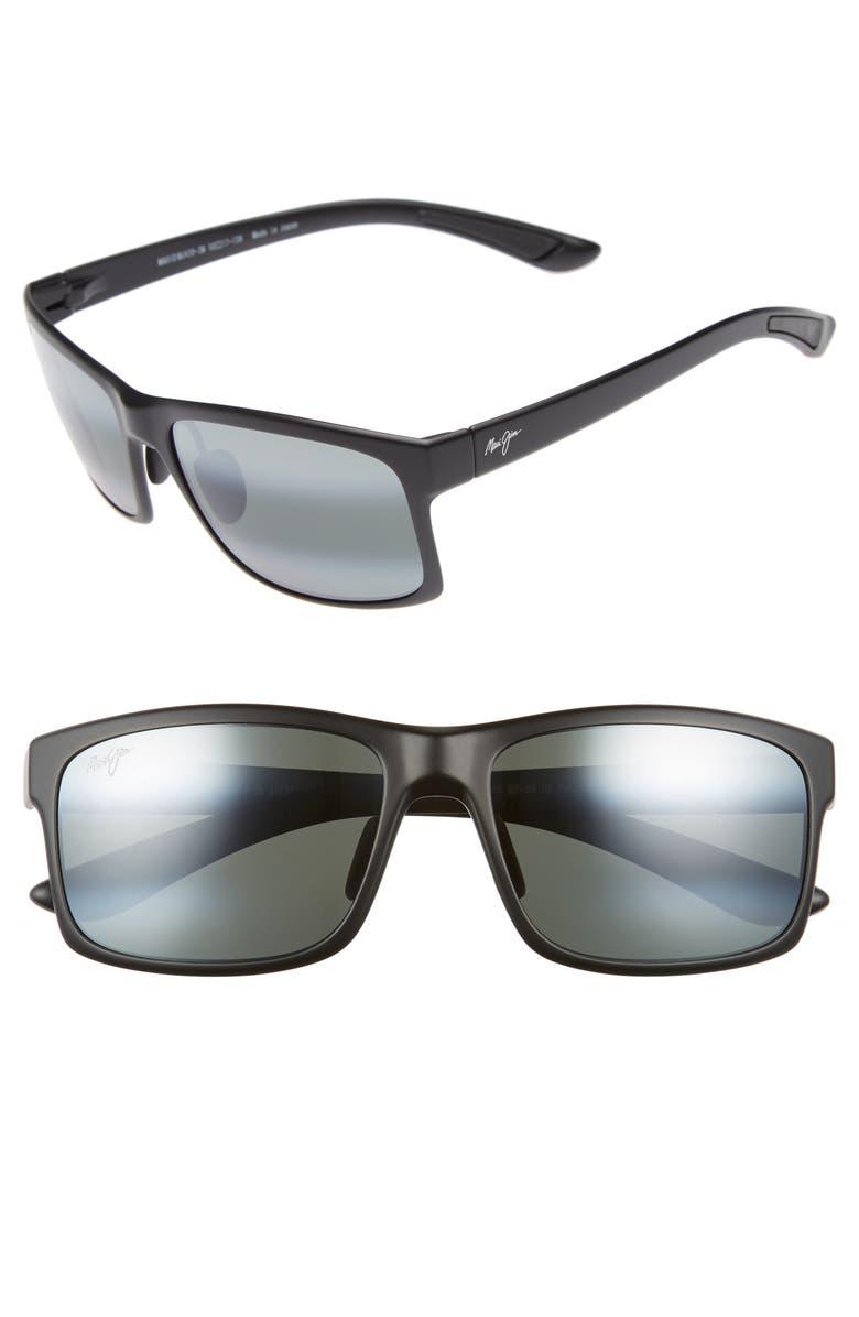 MAUI JIM Pokowai Arch 58mm Polarized Sunglasses, Main, color, BLACK MATTE/ NEUTRAL GREY