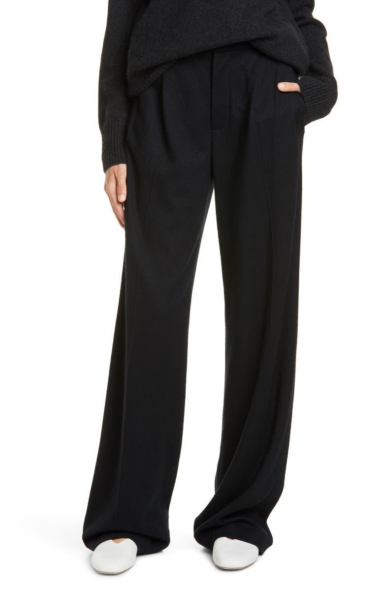 VINCE Cozy Wide Leg Wool Blend Pants, Main, color, BLACK
