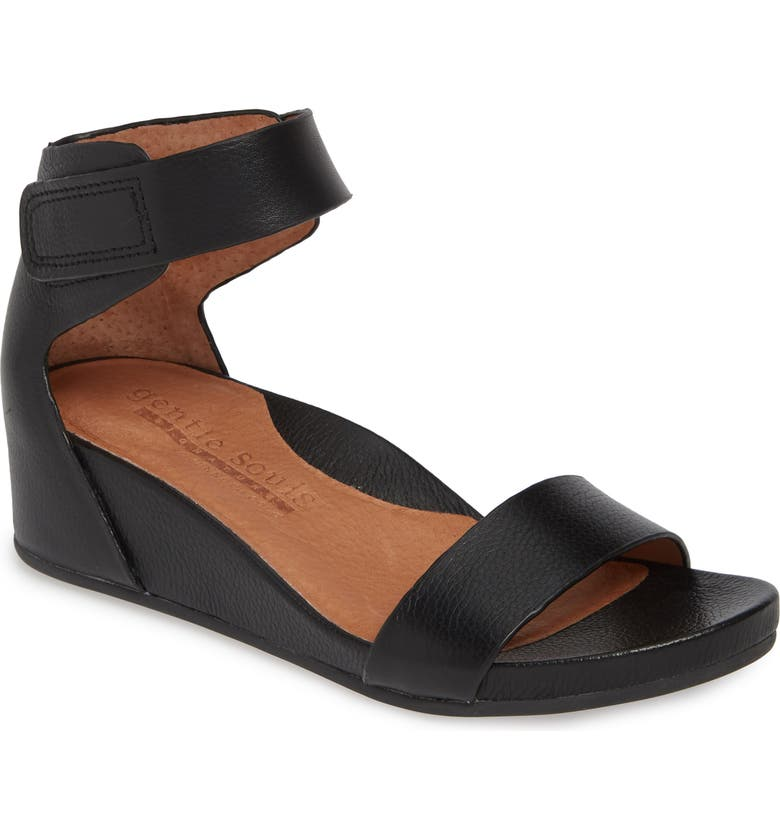 GENTLE SOULS SIGNATURE Gianna Wedge Sandal, Main, color, BLACK LEATHER