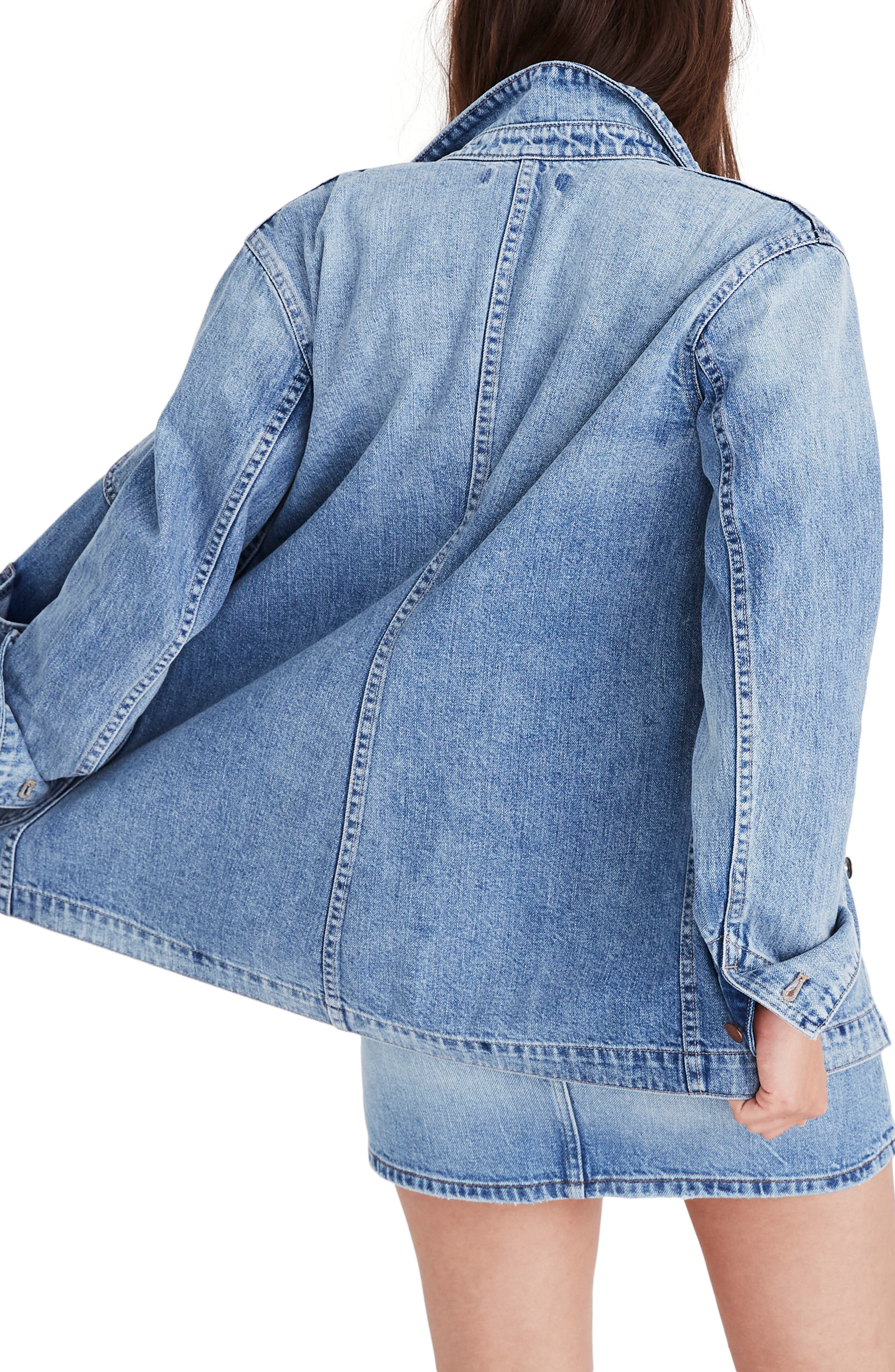 ,                             Embroidered Denim Chore Coat,                             Alternate thumbnail 2, color,                             ROSSEAU WASH
