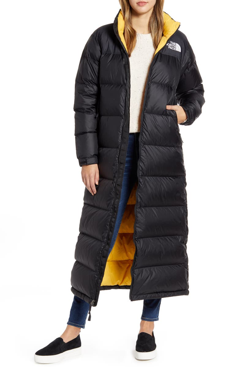 THE NORTH FACE Nuptse Long Water Repellent Down Coat, Main, color, 006