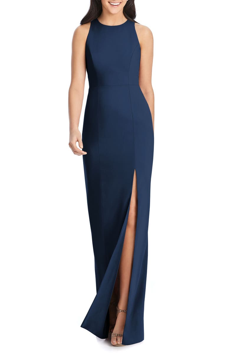 DESSY COLLECTION Sleeveless Crepe Gown, Main, color, MIDNIGHT