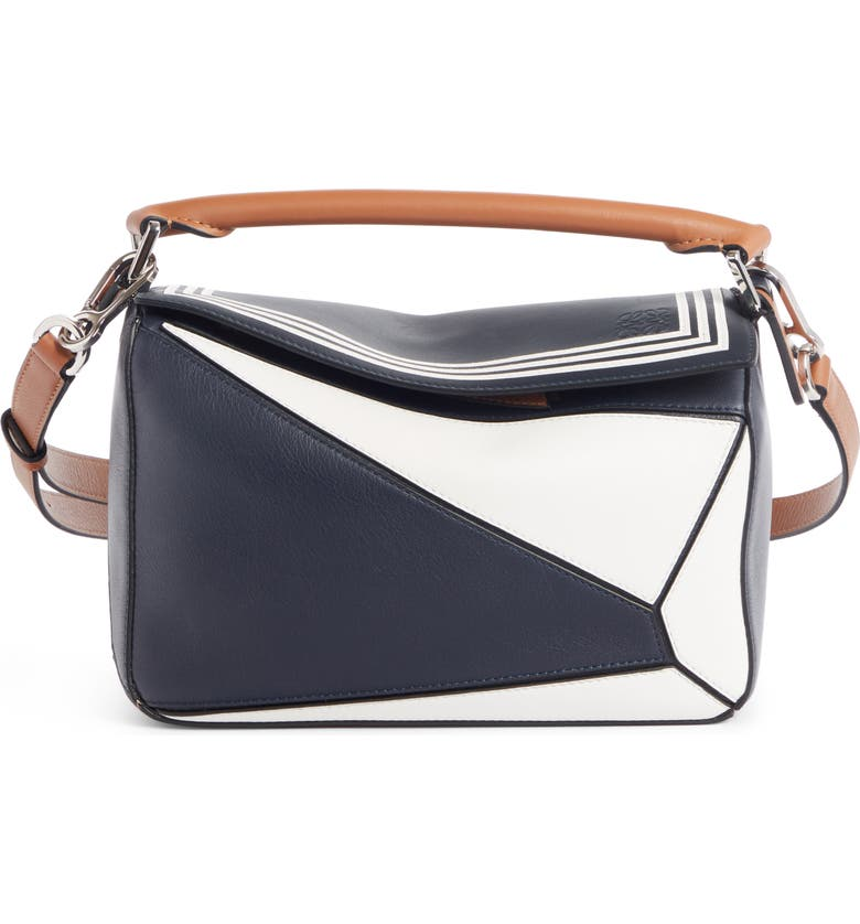 LOEWE Small Puzzle Sailor Leather Bag, Main, color, DEEP BLUE/ SOFT WHITE
