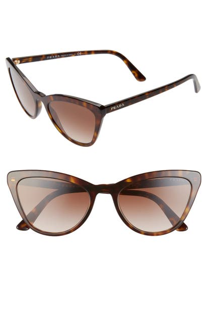 Prada Sunglasses 56MM CAT EYE SUNGLASSES - HAVANA/ BROWN GRADIENT