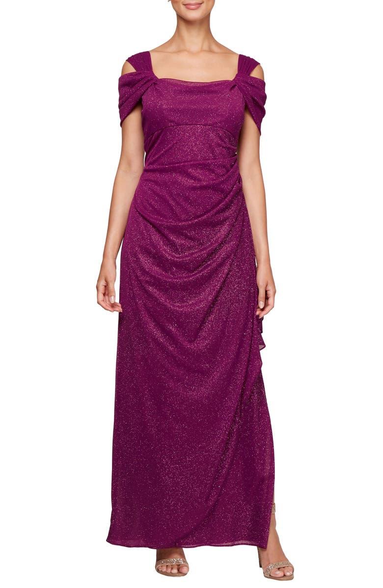 ALEX EVENINGS Cold Shoulder Chiffon Gown, Main, color, BERRY