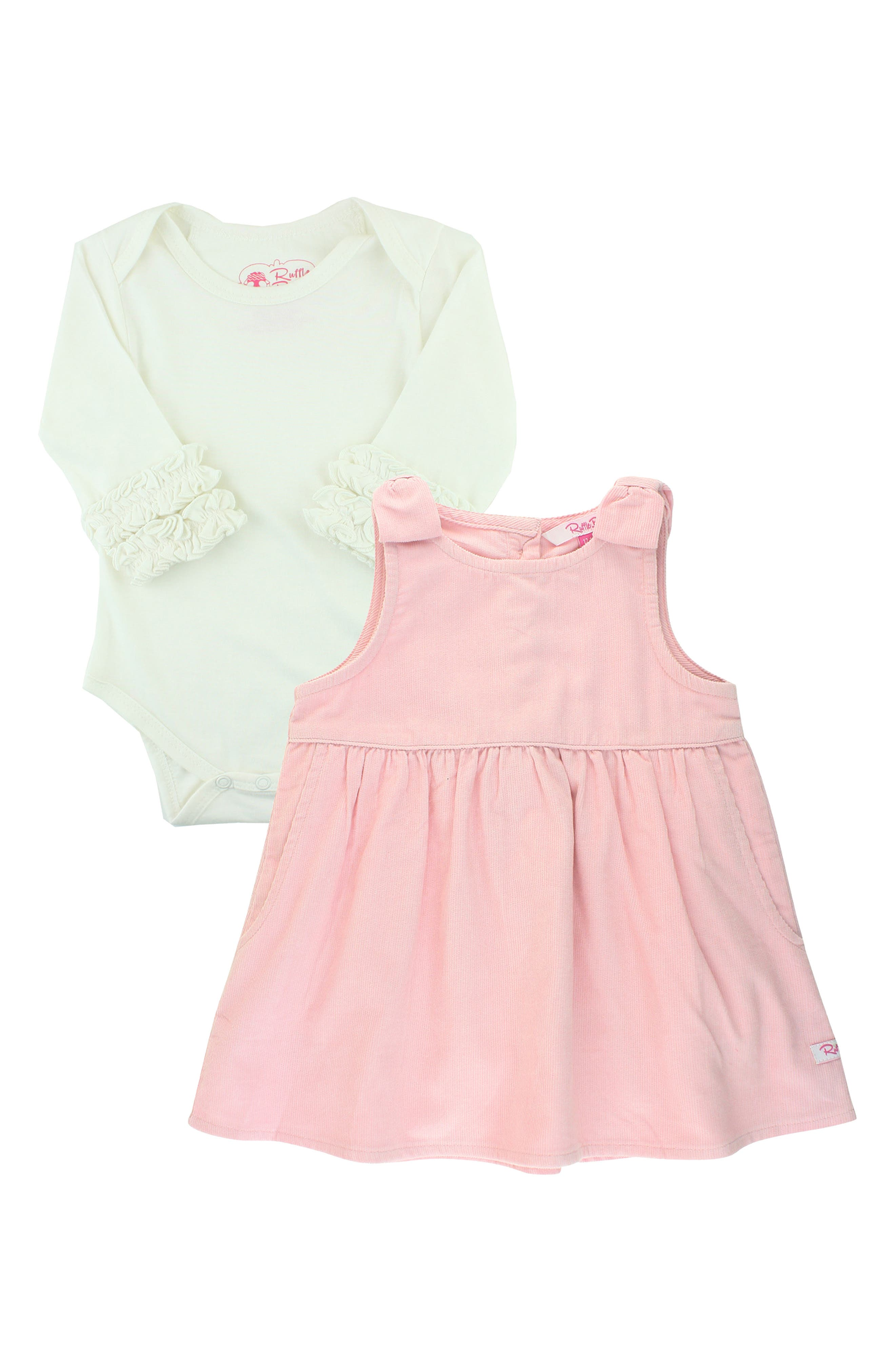 Fanciful frills trim this darling set that includes a comfy bodysuit and a bow-topped cord dress. Style Name: Rufflebutts Ballet Pink Cord Bodysuit & Jumper Dress Set (Baby). Style Number: 6095669. Available in stores.