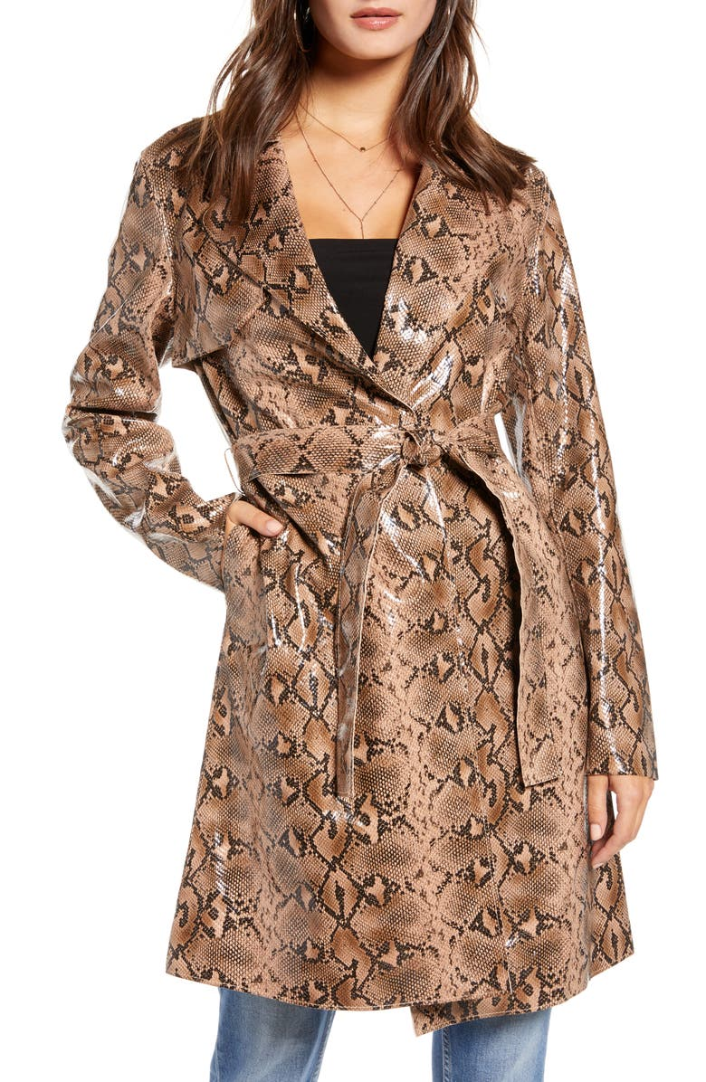 BLANKNYC Snakeskin Faux Leather Trench Coat, Main, color, 250