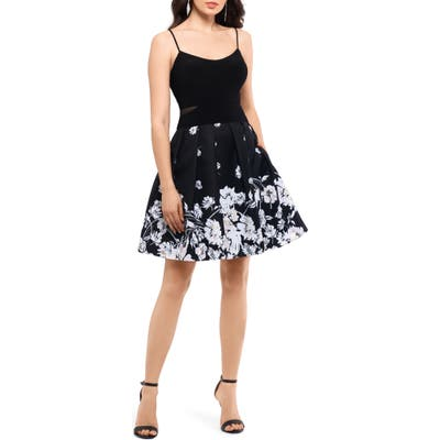 Xscape Mesh Inset Print Pleated Party Dress, Black