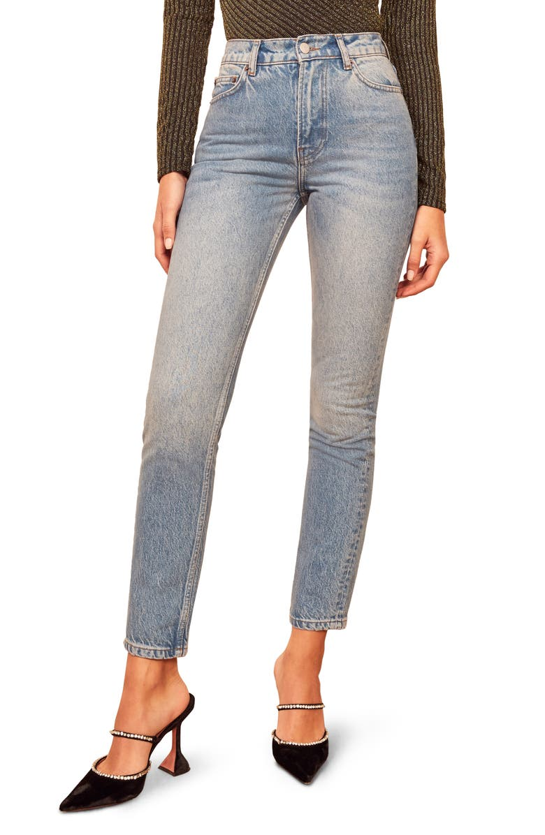 REFORMATION Julia High Waist Cigarette Jeans, Main, color, SEYCHELLES
