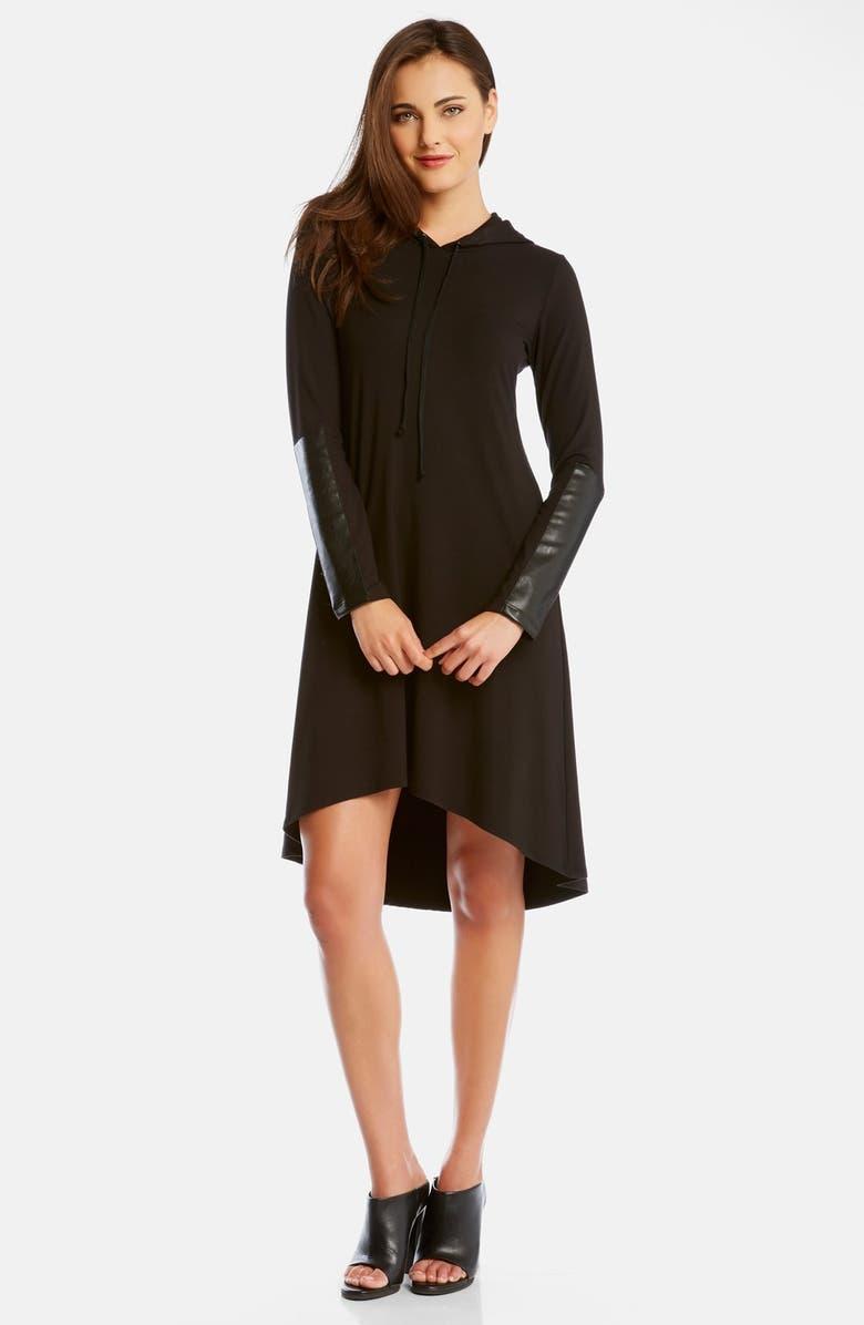 KAREN KANE FauxLeather Patch High/Low Dress, Main, color, 001