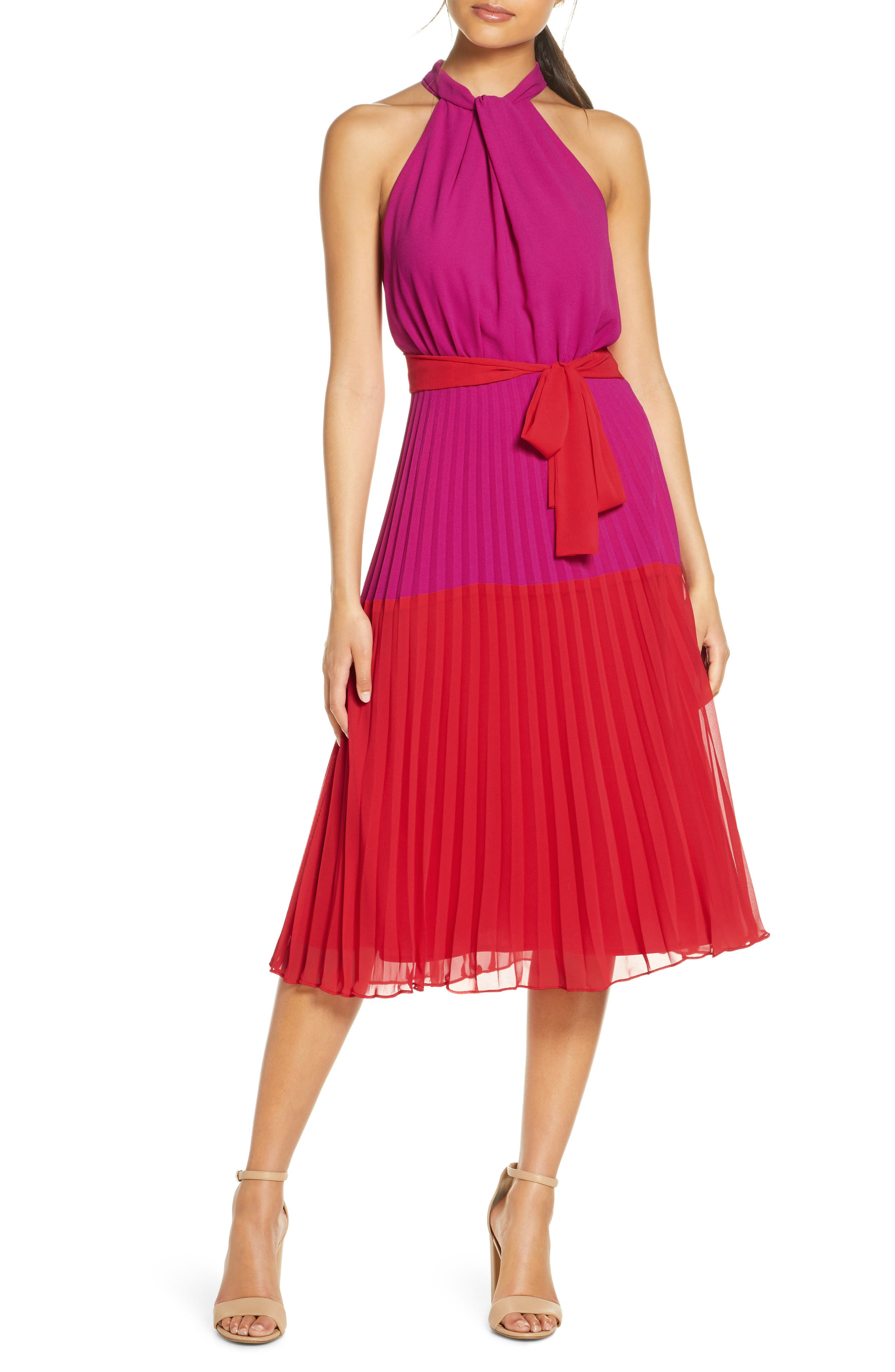 Two punchy colors and a swishy pleated skirt are all you need for a fun day out in this chiffon midi dress with twisted high neckline. Style Name: Julia Jordan Colorblock Pleated Halter Midi Dress. Style Number: 6021949. Available in stores.